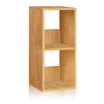 Way Basics 2 Shelf Duo Narrow Bookcase in Natural