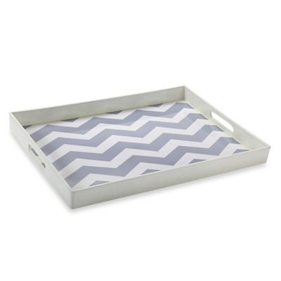 Chevron Tray with Handles in White/Grey