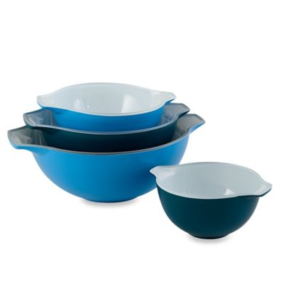 Creo 4-Piece Mixing Bowl Set in Mediterranean Blue
