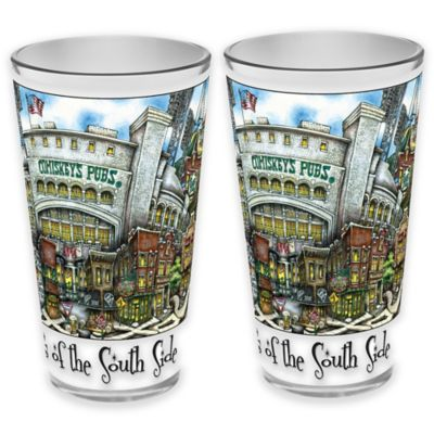 pubsOf. South Side Chicago, Illinois Pint Glasses (Set of 2)