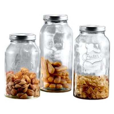 Fifth Avenue 3-Piece Glass Mason Jar Canister Set with Black Lids