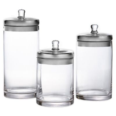 Fifth Avenue 3-Piece Glass Canister Set with Silvertone Lids