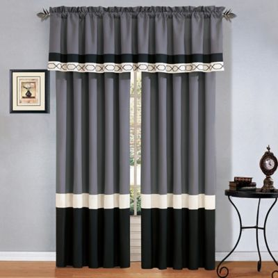 Covington 24-Inch Window Valance in Grey/Black