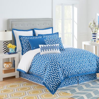 Jill Rosenwald Plimpton Flame Reversible King Duvet Cover in Blue/White