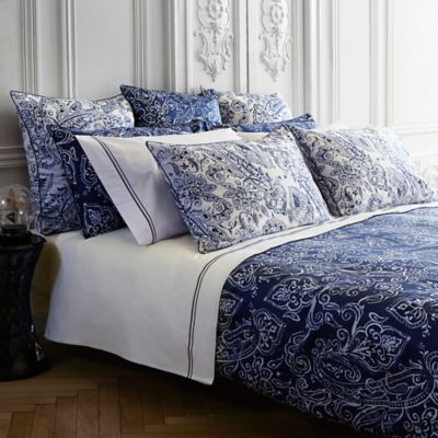 Frette At Home Via Margutta King Pillow Sham in White/Blue