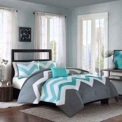 Cozy Soft® Cade 4-Piece Reversible Full/Queen Comforter Set in Aqua
