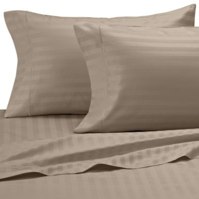 Damask Stripe 500-Thread-Count Olympic Egyptian Cotton Queen Sheet Set in Taupe