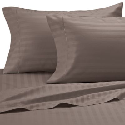 Damask Stripe 500-Thread-Count Egyptian Cotton King Pillowcases in Canvas (Set of 2)