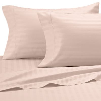 Damask Stripe 500-Thread-Count Egyptian Cotton Dual King Sheet Set in Pink