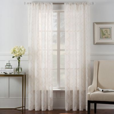 Diamond Grid Sheer Rod Pocket 84-Inch Window Curtain Panel in Ivory