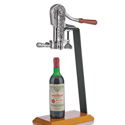 Wine Enthusiast® Legacy Corkscrew in Antique Pewter with Birch Stand