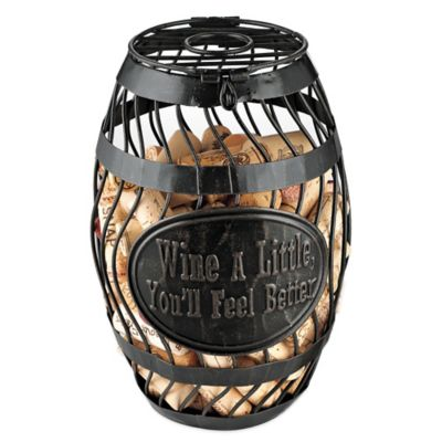 "Wine Enthusiast ""Wine a Little"" Wine Barrel Cork Catcher"