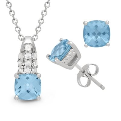 Sterling Silver 6mm Blue Topaz and Lab-Created White Sapphire 2-Piece Necklace and Earring Set