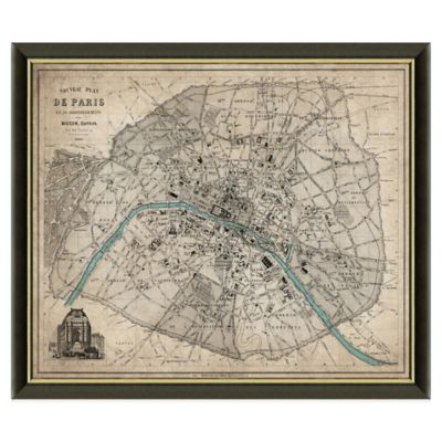 Framed Map of Paris, France Wall Décor