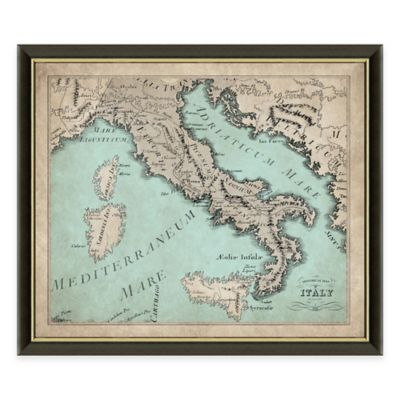 Framed Map of Italy Wall Décor
