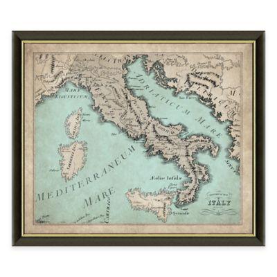 Framed Map of Italy Wall Décor