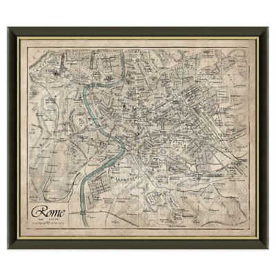 Framed Map of Rome, Italy Wall Décor