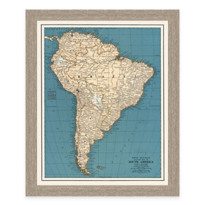 Framed Map of South America Wall Décor