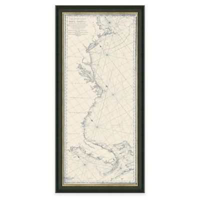 Framed Coastal Map of Cape Cod, MA to Key West FL. Wall Décor