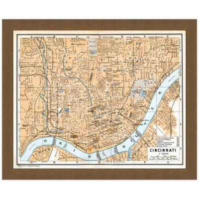 Framed Map of Cincinnati, OH Wall Décor