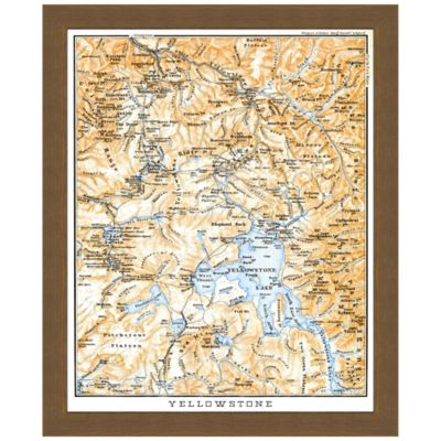 Framed Yellowstone National Park Map Wall Décor
