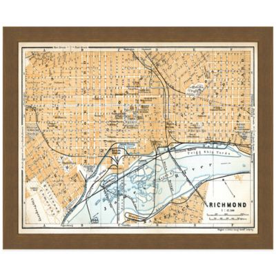 Framed Map of Richmond, VA Wall Décor