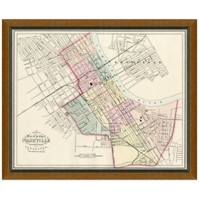 Framed Map of Nashville, TN Wall Décor