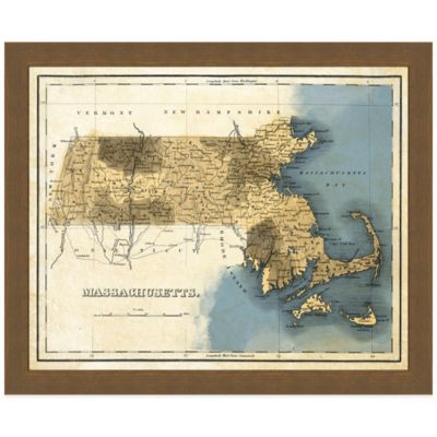 Framed Massachusetts Map Wall Décor