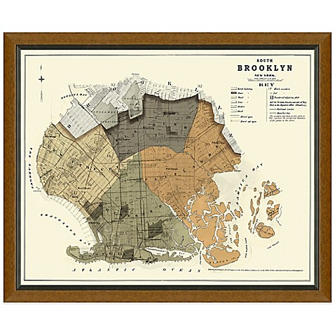 Framed south brooklyn map wall d cor for Beyond the wall mural design