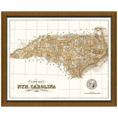 Framed North Carolina Map Wall Décor