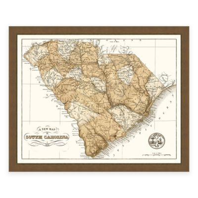 Framed South Carolina Map Wall Décor