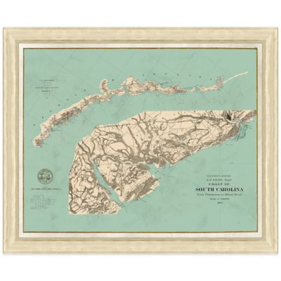 Framed Coast of South Carolina Map Wall Décor