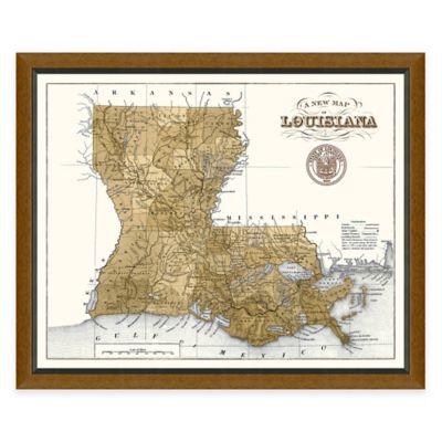 Framed Louisiana Map Wall Décor