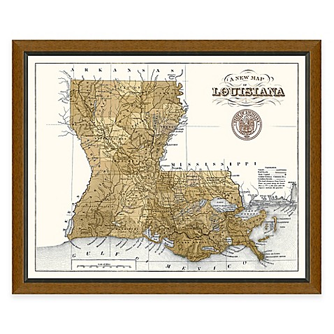 Buy framed louisiana map wall d cor from bed bath beyond for Beyond the wall mural design