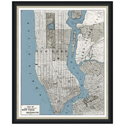 Framed Map of Manhattan-Brooklyn Wall Décor