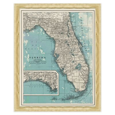 Framed Map of Florida Wall Décor