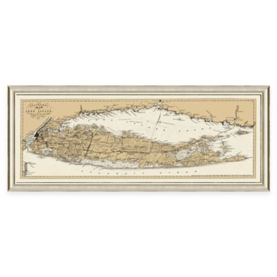 Framed Long Island, NY Map Wall Décor