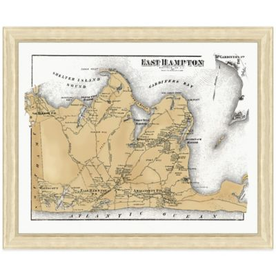 Framed East Hampton, NY Map Wall Décor