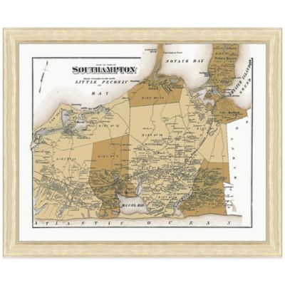 Framed Southampton, NY Map Wall Décor