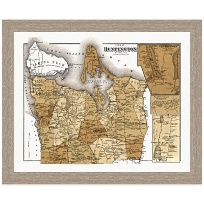 Framed Huntington, NY Map Wall Décor