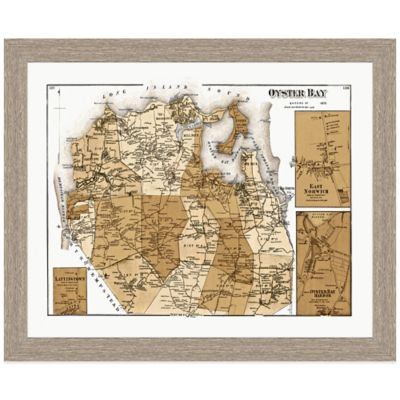 Framed Oyster Bay, NY Map Wall Décor