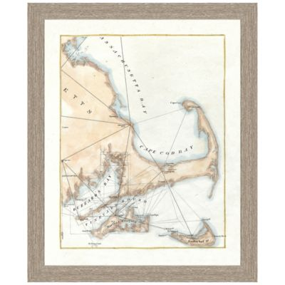 Framed Map of Cape Cod Portrait Wall Art