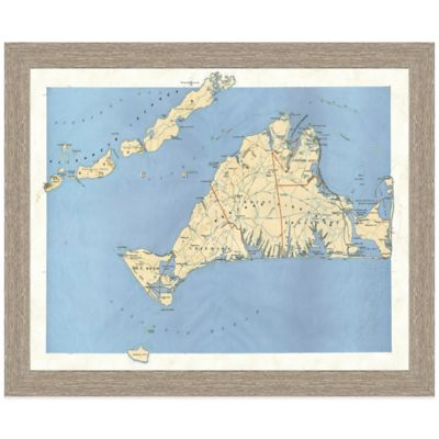Framed Map of Martha's Vineyard Wall Décor