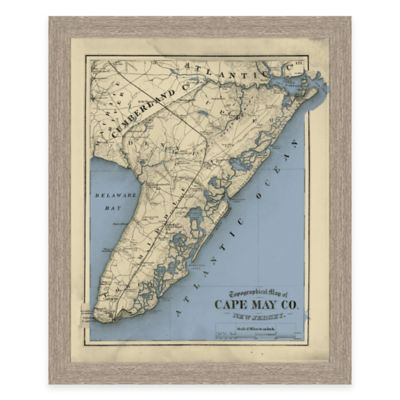 Framed Cape May County, NJ Map Wall Décor