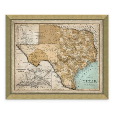 Framed Map of Texas Wall Décor