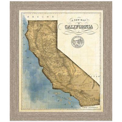 Framed Map of California Wall Décor