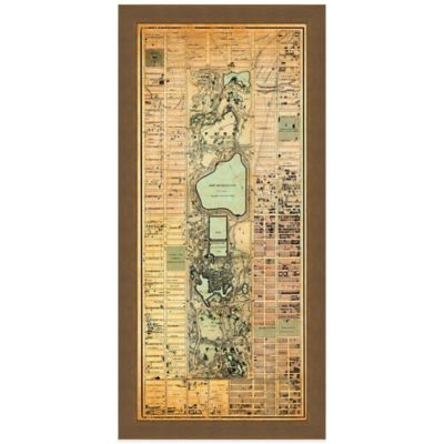 Framed Map of Central Park Wall Décor