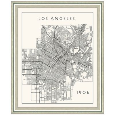 Framed Portrait Map of Los Angeles, CA Wall Décor