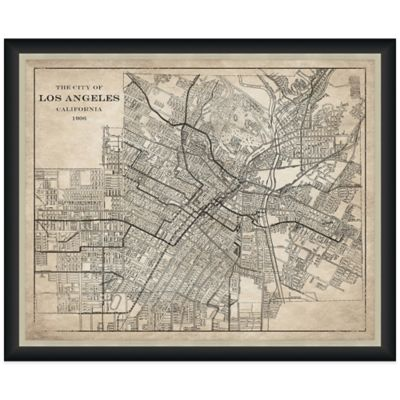 Framed Landscape Map of Los Angeles, CA Wall Décor