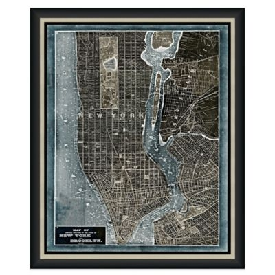 Framed Map of New York, NY Wall Décor